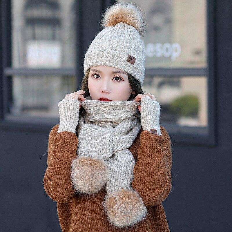 Fashion Wool Winter Hat Scarf Gloves Set Women Thicken Glove Set Beanies Soft Scarf And Hat For Girls Ball Pom Pom Hats