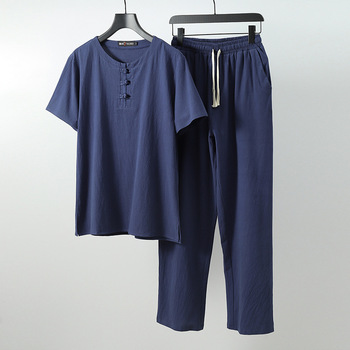 Men linen Tops&Tees sets plus size M-6xl 7xl 8xl 9XL round neck T Shirt Male Tshirts T-shirt Chinese style two-piece suits