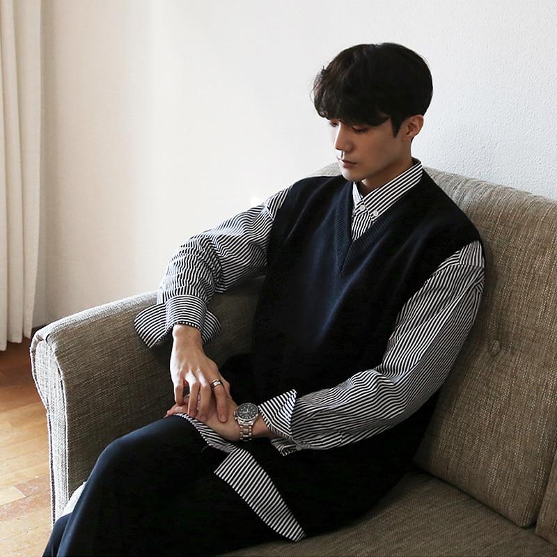 IEFB/Мужская одежда, Осенний пуловер, свитер, жилет, новинка 2020, модный Свободный вязаный жилет, черный топ без рукавов, винтажный 9Y3269
