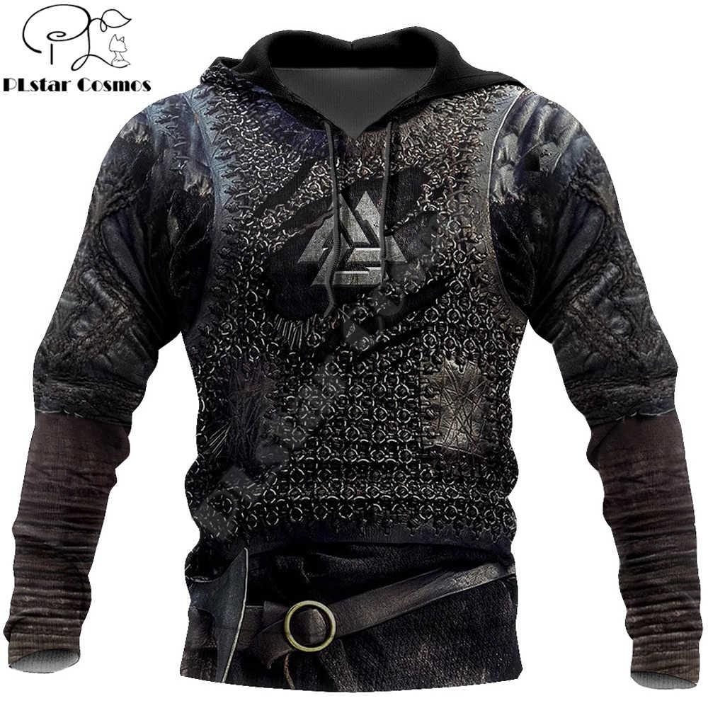 Viking armadura tatuagem 3d impresso hoodies harajuku moda moletom cosplay traje unisex jaqueta casual zip hoodie wj003