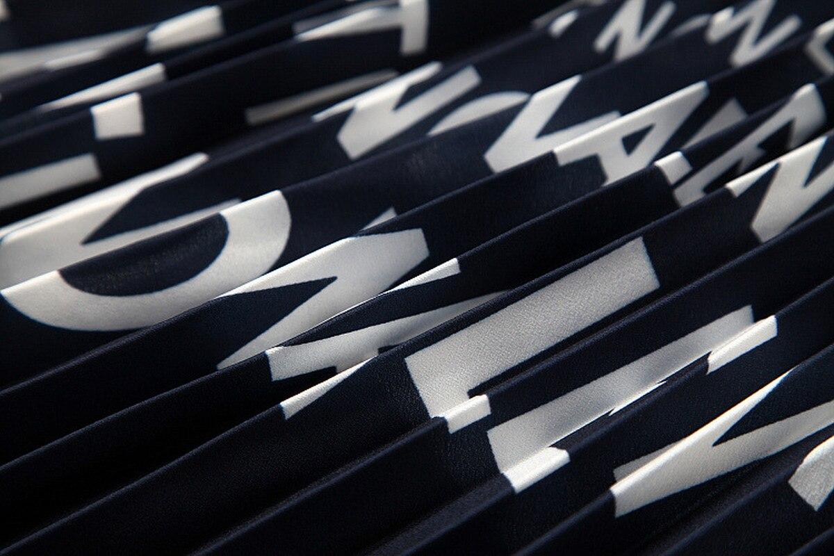 2019 Estate Dolce Fresco di Strada di Usura Delle Donne del Vestito Nuovo di Stampa della Lettera Della Rappezzatura di Contrasto POLO Risvolto di Colore Sottile Pieghettato il Vestito - 3