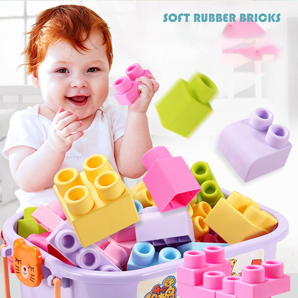Baby Soft Rubber Building Blocks 6 Months 1-2-5 Years Old Baby Early Education Can Bite Can Be Boiled Toys Soft Wood