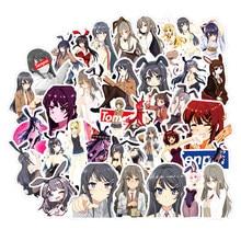10/30/50 unidades/pacote seishun buta yarou wa menina coelho senpai não yume wo minai anime adesivos para móveis caixa de mesa parede motocicleta