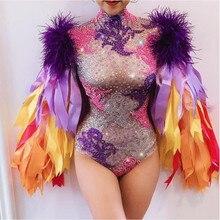 Multi cor Pedrinhas Fita Franjas Comemorar Aniversário Bodysuit Roupa do Baile Bar Mulheres Cantor Dancer Costume Outfit