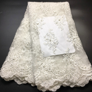 Image 2 - Off White Beaded Lace Fabrics African Lace Fabric 2020 High Quality Lace With Stones, French Nigerian Lace Fabrics for Wedding