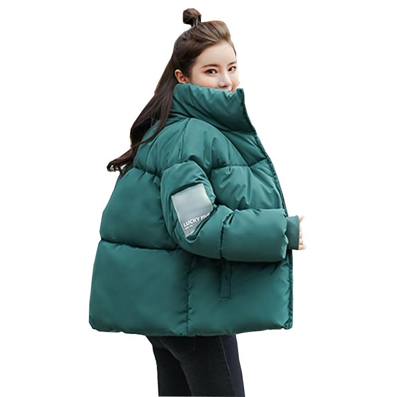 Winter Women Short Jacket Cotton Padded Jacket Female Parka Stand Collar Oversize Coats Abrigos Mujer Invierno