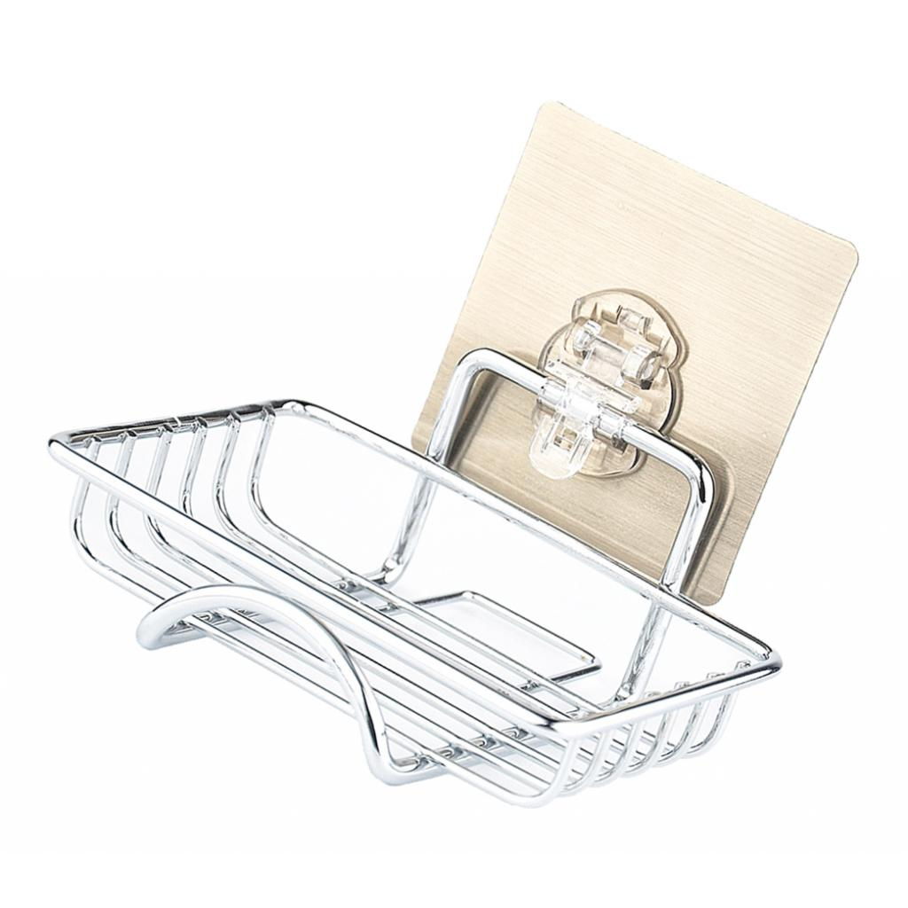 Punch-free Kitchen Stainless Wall Mounted Soap Holder Dish Reusable -B