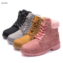 Women winter boots Platform Pink Boots Lace up Casual Ankle Booties Round Shoes snow Z252
