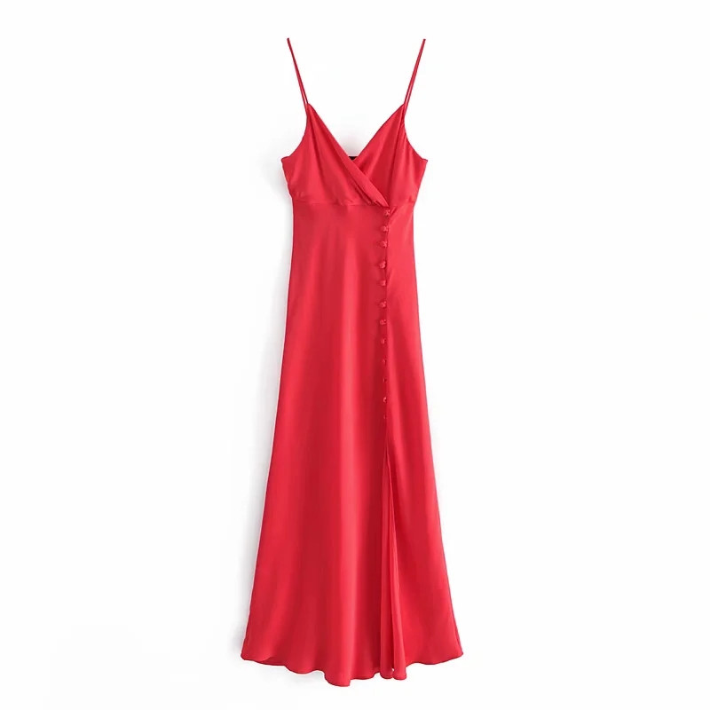 Women Satin Red Slim Maxi Dress with Wrap Bodice side Buttons and Slit detail