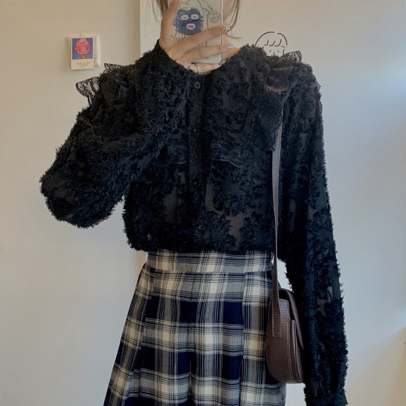 H6f4b1d10311f41c5acff97ed14d27a60W - Spring / Autumn Ruffled Collar Puff Sleeves Lace See Through Blouse