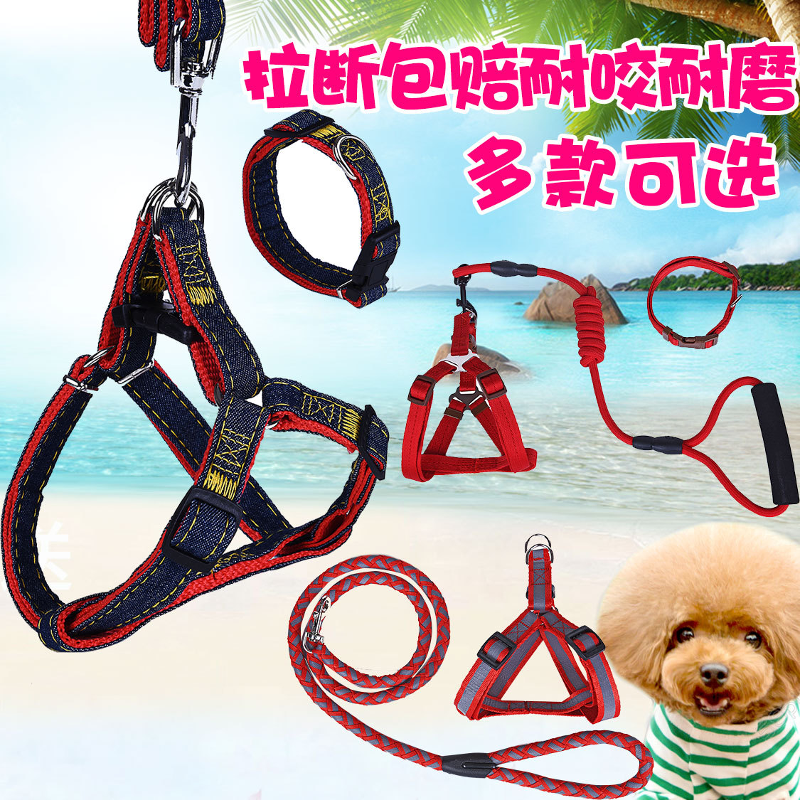 Pet Supplies Dog Chest And Back Nursing Lanyard Chain Neck Ring Traction Teddy Unscalable Small Universal Dog Dog