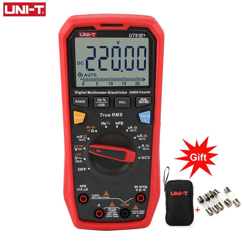 UNI-T UT61B+ UT61D+ UT61E+ Handheld Multimeter Digital DC AC 1000V 60mF/220 mF Capacitance Testing True RMS Auto Range Meter
