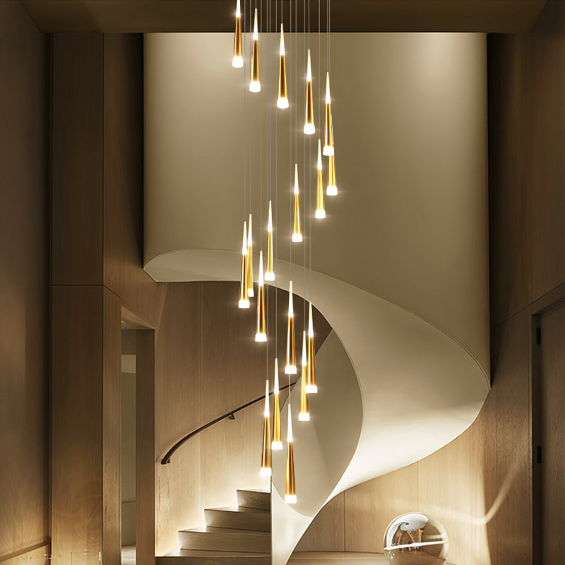 lowest price LED Ring Chandelier Lamp Living room Bedroom Kitchen staircase chandelier Lighting Indoor home Decor long stair chandelier