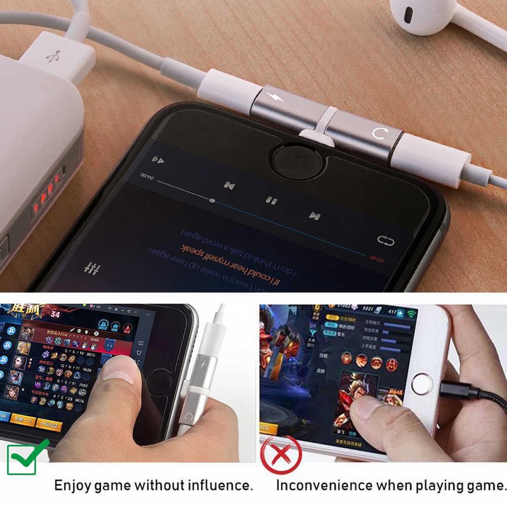 2 sztuk dla Apple iPhone X 7 8 Plus XS Max XR Audio ładowanie podwójny Adapter Splitter Jack słuchawki słuchawki AUX złącze konwerter