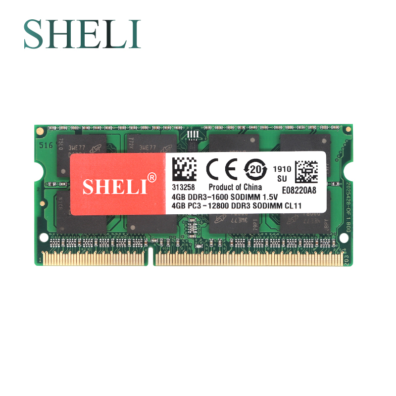 SHELI New 4GB 2RX8 PC3-10600S/PC3-12800S/PC3-8500S <font><b>DDR3</b></font>/DDR3L SDRAM <font><b>1066</b></font>/1333/1600MHZ Laptop Memory image