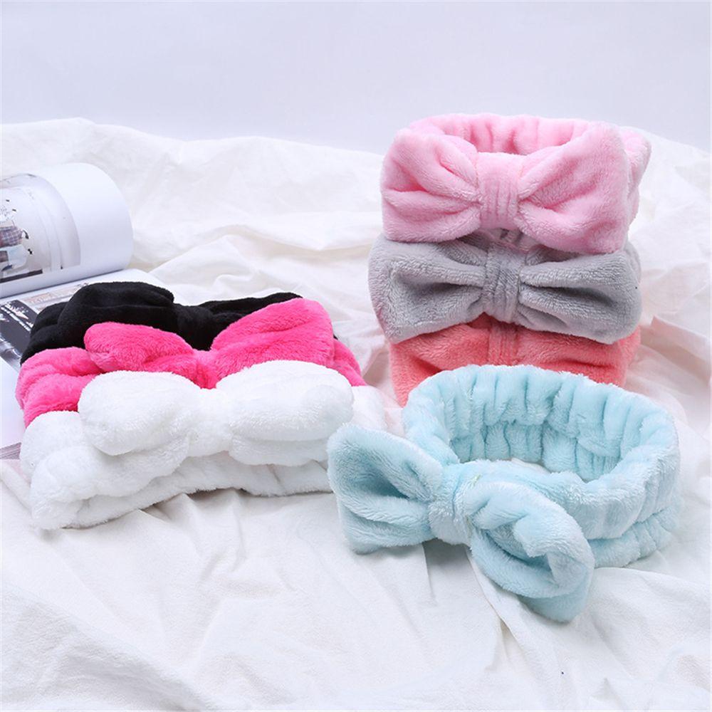 Повязка на голову из кораллового флиса для мытья лица, женская маска для ванны, косметическая повязка для волос, эластичная мягкая резинка д...