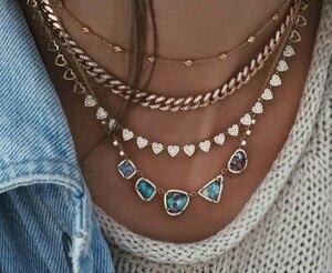 Image 2 - Hart ketting micro pave cz multi stuk heart charm link chain vriendin valentijnsdag gift mode sieraden