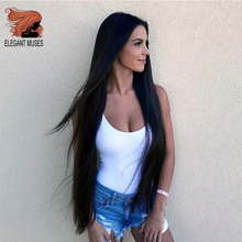 ELEGANT MUSES Long Straight Black Wig Synthetic Wigs for Wom