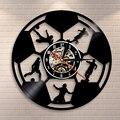 Настенные часы для футбольного зала  виниловые настенные часы для записи  настенные часы для футбольного плеера  Настенный декор силуэта  п...