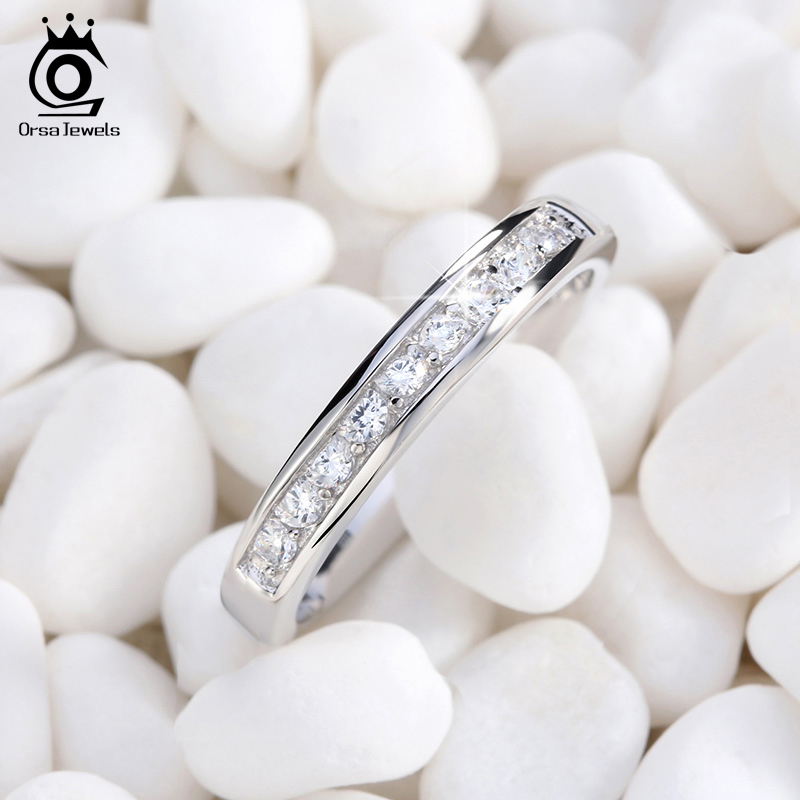 ORSA JEWELS Genuine S925 Silver Rings Sterling Silver Valentine Present Jewelry Zircon Half Eternity Women Wedding Ring ASR136