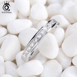 ORSA JEWELS Genuine S925 Silver Rings Sterling Silver Valentine Present Jewelry Zircon Half Eternity Women Wedding Ring ASR136