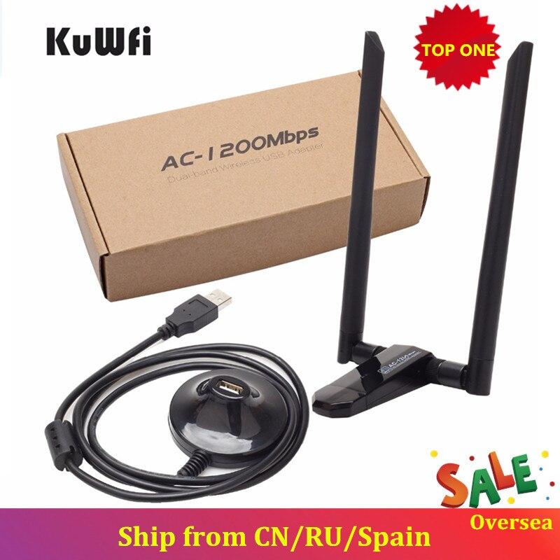 KuWfi 1200Mbps tarjeta de red USB inalámbrica USB3.0 banda Dual 2,4G y 5,8G receptor Wifi y adaptador inalámbrico para PC con antenas de 2 piezas