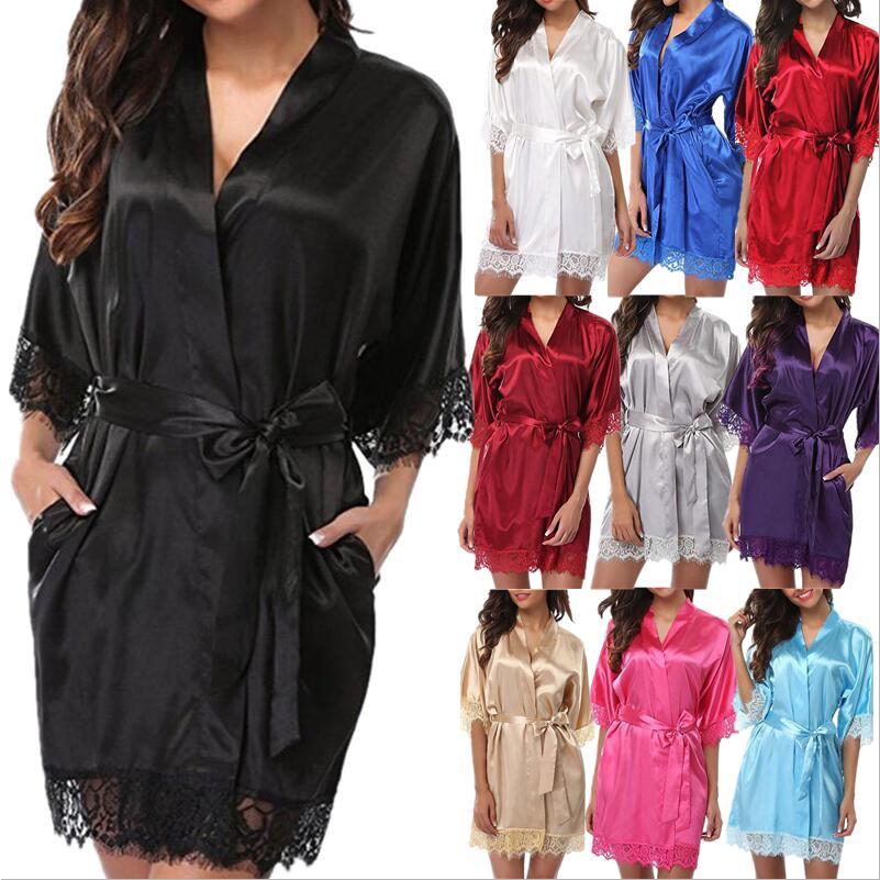 Women Sexy Nightgown Silk Kimono Dressing Gown Babydoll Lace Lingerie Bath Robe Nightwear Bathrobe Night Dress Sleepwear Femme