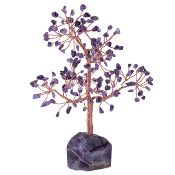 TUMBEELLUWA Healing Gemstone Crystal Money Tree,Natural Rough Stone Base Lucky Tree Figurine for Home Office Decoration
