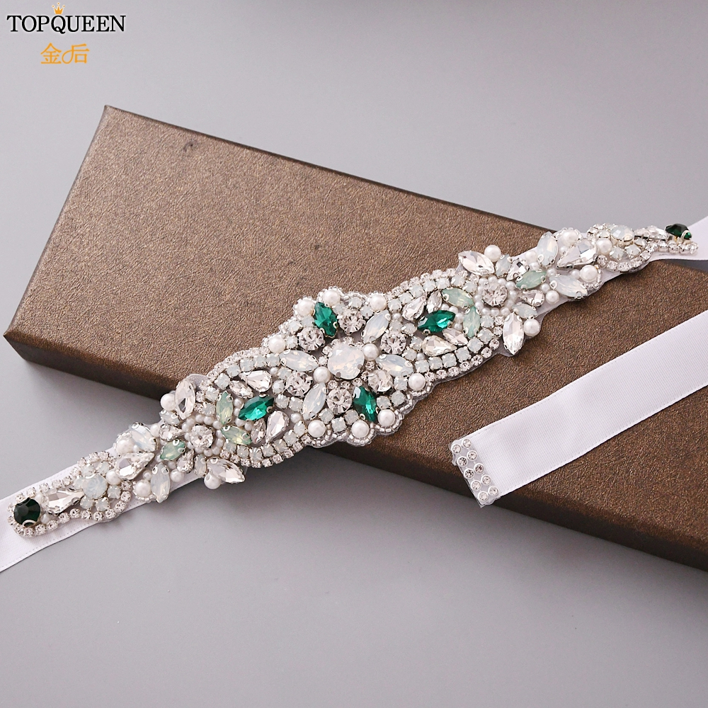 TOPQUEEN Belts For Wedding Green Stones Bridal Belt Opal Pearl Rhinestone Bridesmaid Decorative Belts Crystal Wedding Sash S452