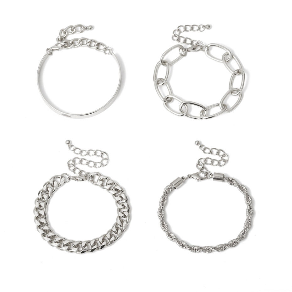 IngeSight.Z 4Pcs/Set Hip Hop Chunky Thick Miami Curb Cuban Bracelets Bangles Punk Metal Twisted Rope Chain Bracelet Jewelry Gift 7