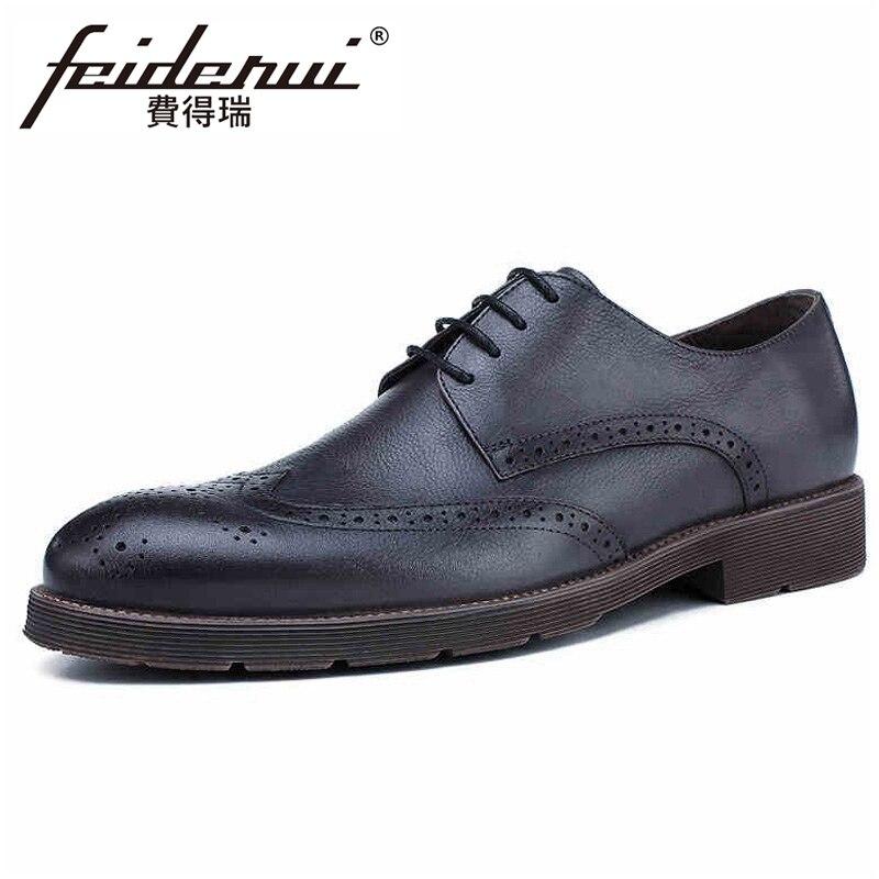 Nouveau Vintage en cuir véritable fait à la main hommes fête Oxfords bout rond Derby lacets homme robe formelle Wingtip chaussures Brogue HQS322