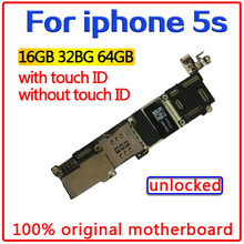 Tarjeta madre de 16 gb/32 gb/64 gb para iphone 5s con/sin identificación táctil, placa base 100% original desbloqueada para iphone 5s con Chips(China)