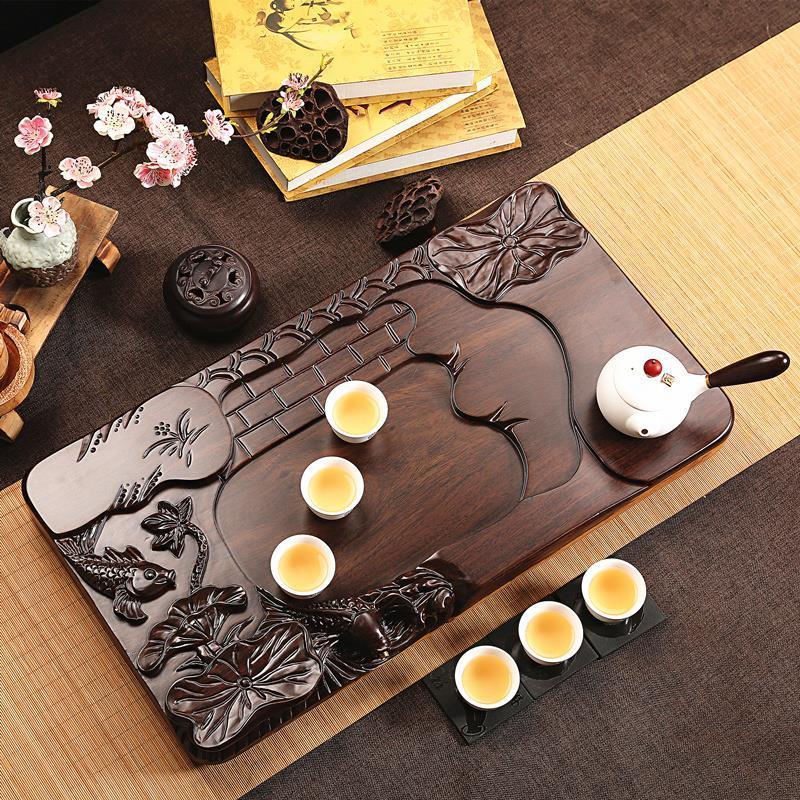 Image 4 - De Service Table Serviertablett Puer Bandeja High Accessories Vassoio Da Portata Kung Fu Gongfu Holder Chinese Tea TrayTea Trays   -