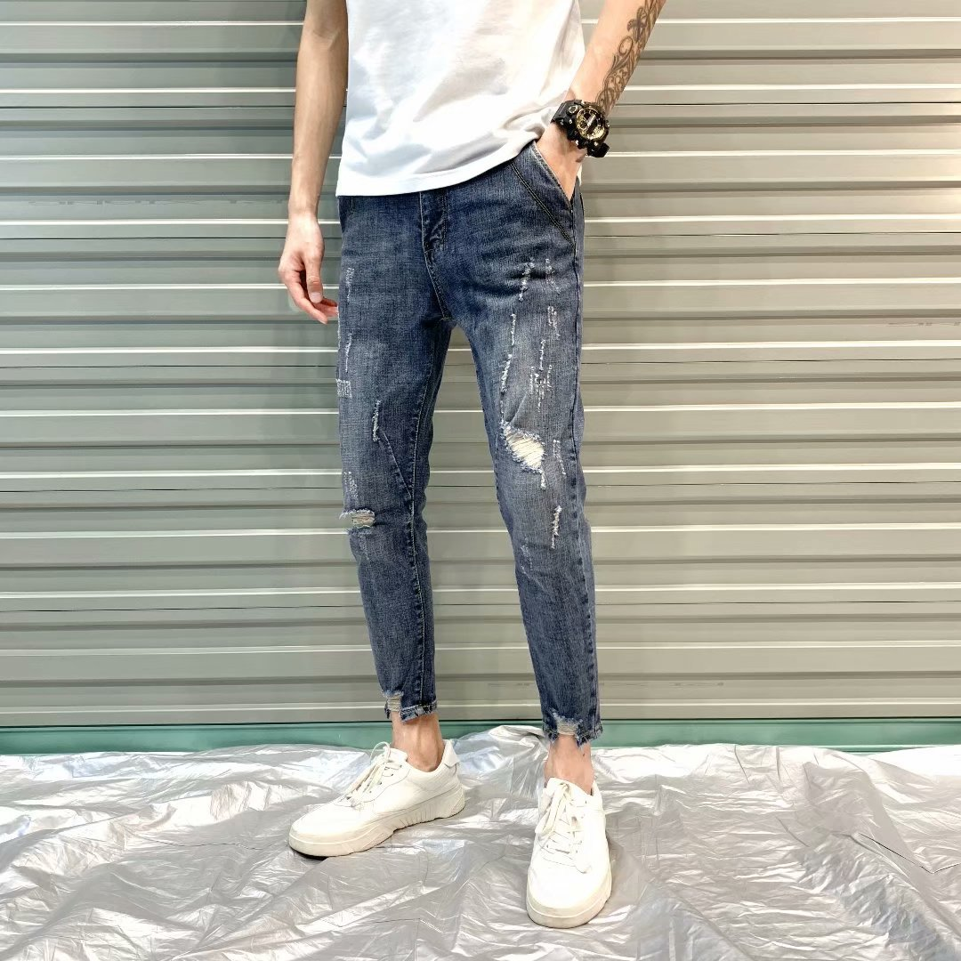 New Style With Holes MEN'S Jeans Spring Summer MEN'S Ninth Pants Fashion Man Slim Fit Skinny Pants Agent 9 Pants