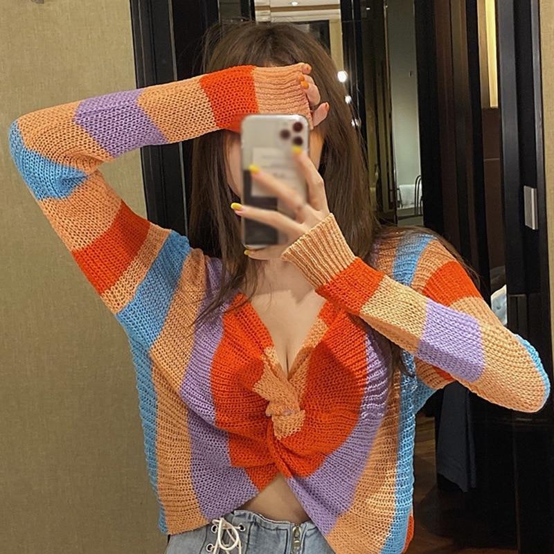 Модный сексуальный женский трикотажный топ с v образным вырезом