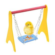 Acrylic Swing Chicken Toy with Hanging Chain Baby Chick Perch Cage Training Stand Holder for Bird Parrot Hens Macaw