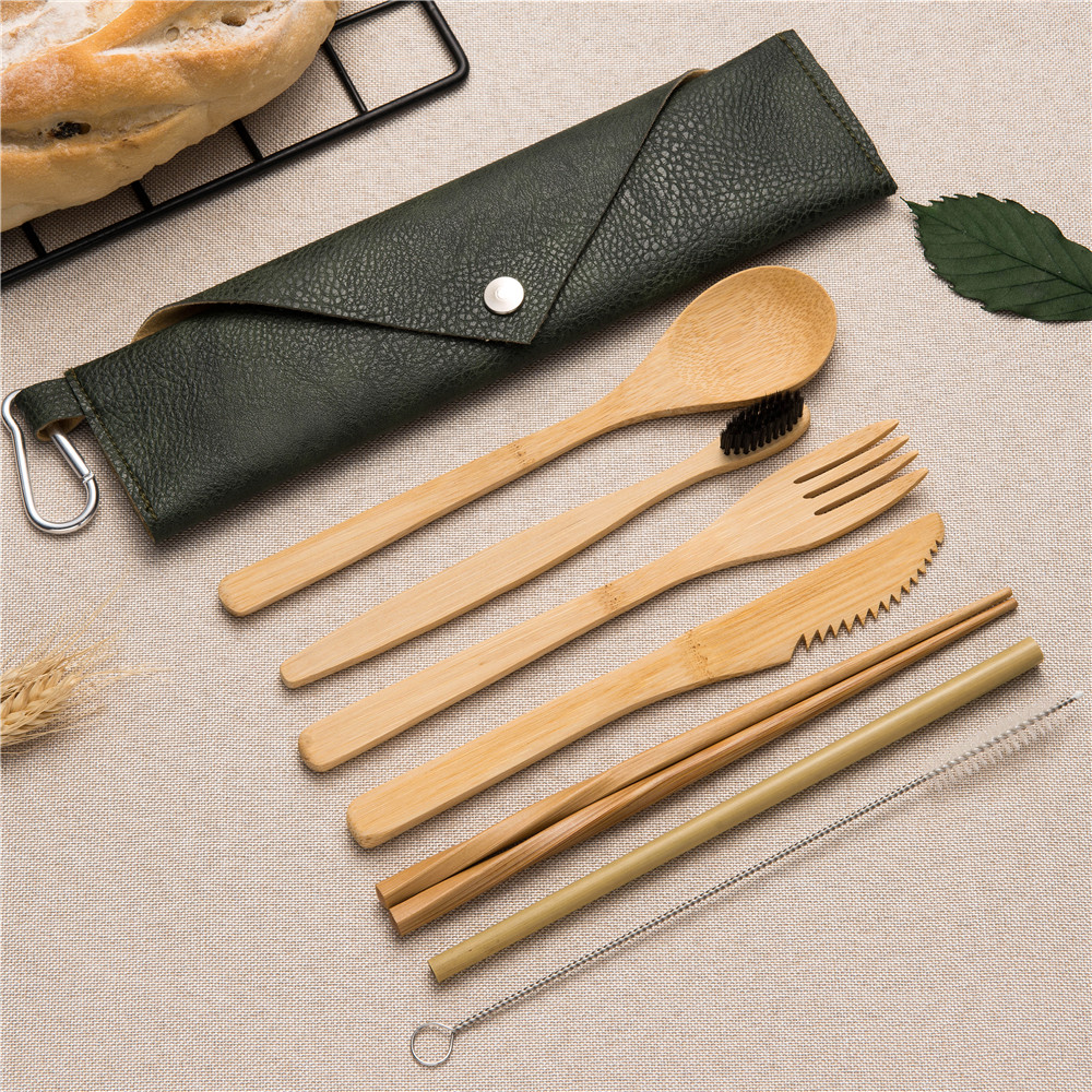 2019NEW Bamboo Cutlery Portable Cutlery Set Bamboo Straw Toothbrush Chopsticks Forks Knives Spoons with Close Bag for Travel Set in Dinnerware Sets from Home Garden