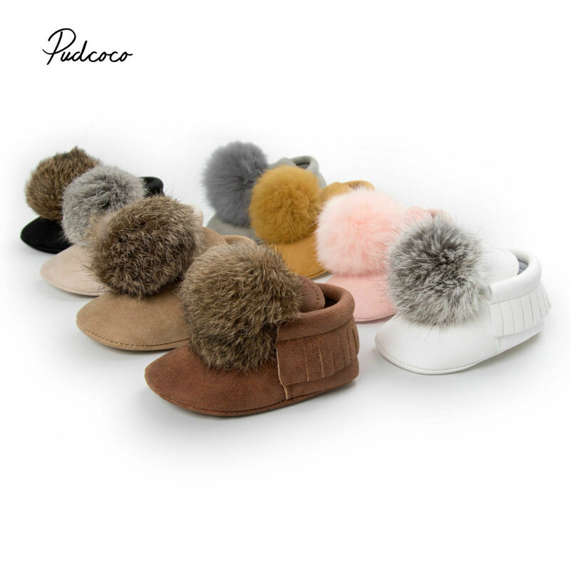 Cute Ball Toddler Baby Boy Girl  First Walkers Winter Warm Crib Shoes Anti-slip Soft Moccasin Boots  0-18M Drop Shipping