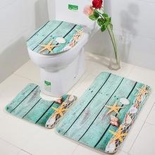 цена на 3Pcs/set Bathroom Mats Flannel  Anti Slip Bathroom Carpet Set Kitchen Bathroom Toilet Rug Washable Tapete Banheiro