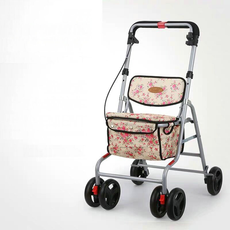 Portable Seniors Rolling Walker With Wheels, Seat, Backrest & Storage Pouch, Height Adjustable Elderly Stroller