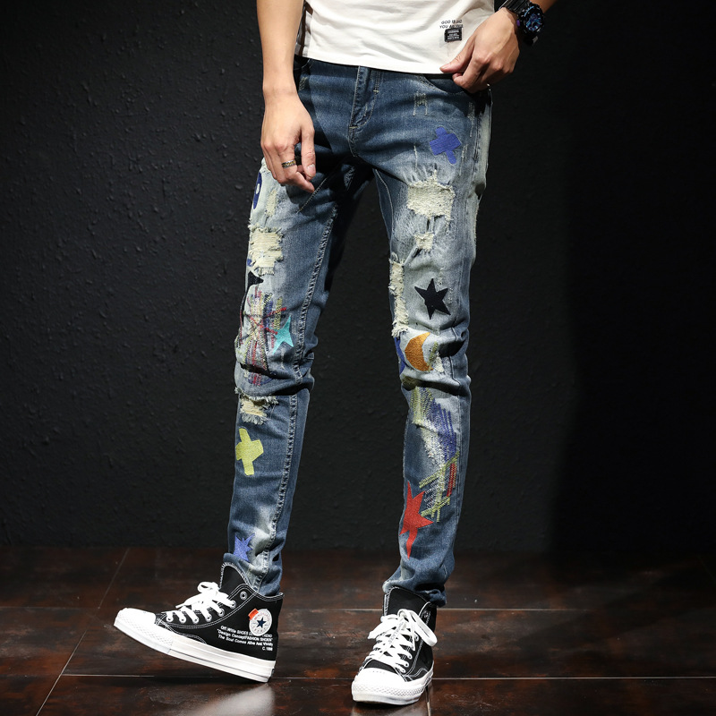 Fashion Streetwear Men Jeans Printed Embroidery Designer Elastic Ripped Jeans Men Punk Pencil Pants Korean Hip Hop Skinny Jeans