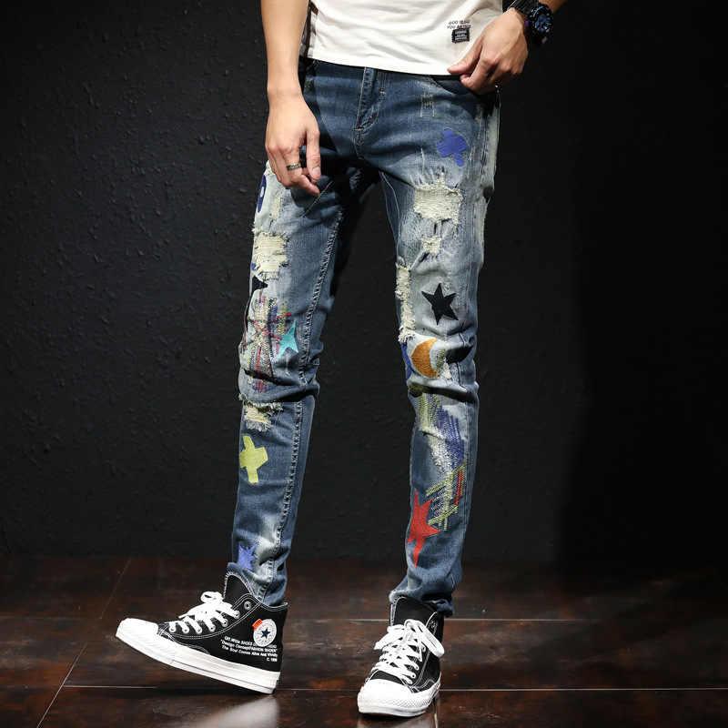Pantalones Vaqueros Rasgados Elasticos Para Hombre Jeans Con Estampado Bordado Estilo Coreano Hip Hop Pantalones Vaqueros Aliexpress