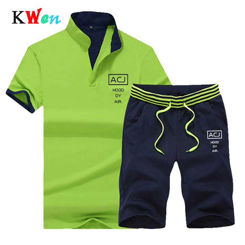 Fitness Suits Summer 2PC Top Short Set Mens Stand Collar 2019 Fashion 2 Pieces T-shirt Shorts Tracksuit Brand Sportsuits Set Men