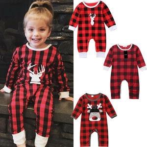Maluch dziewczynka chłopiec ubrania świąteczne renifer i pledy Romper kombinezon 0-3T