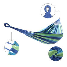 Открытый гамак синий и зеленый полосы полиэстер хлопковый 200*150