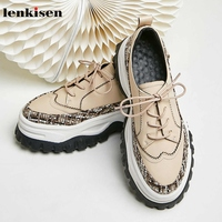 Lenkisen cow leather fashion Plaid burlap round toe high heels thick bottom lace up daily wear autumn women vulcanized shoes L68