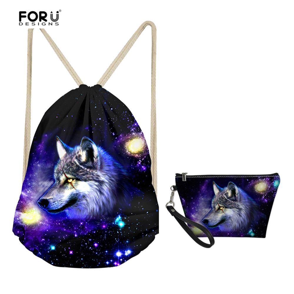 FORUDESIGNS Kids Boys Drawstring Bags Set With Cosmetic Makeup Purse Cool 3D Animal Galaxy Wolf Print Storage Shoe Pack For Men