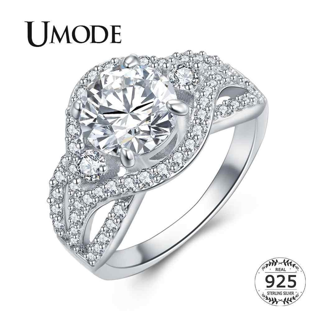 UMODE 925 סטרלינג כסף טבעות זירקון Cystal אירוסין טבעות לנשים Femme זוג חתונה תכשיטי מתנות יוקרה מותג LR0801