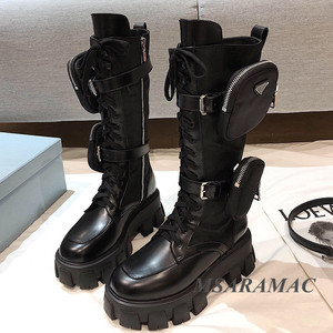 Buckle strap knee high motorcycle boots Cow Leather Millitary Long Boots Pocket Decor Street Fashion Winter Celebrity Shoes