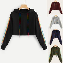 цены Fashion Women Solid Lace Up Drawstring Hoodie  Sweatershirt  Female Long Sleeve Rianbow Stripe Sweatershirt Hoodie Pullover